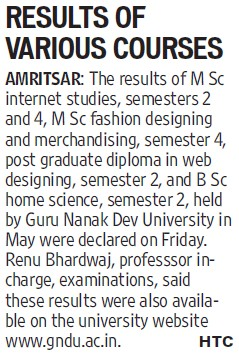 Results of various courses (Guru Nanak Dev University (GNDU))