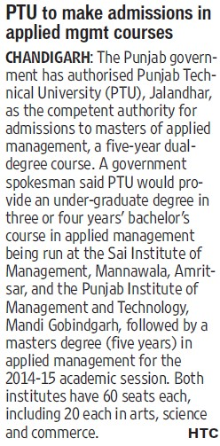 PTU to make admissions in applied mgmt (Punjab Technical University PTU)