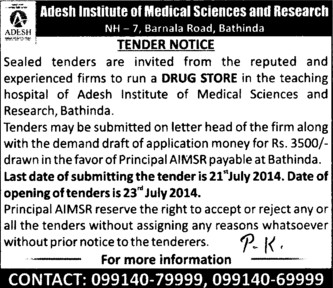 Firm to run Drug Store (Adesh Institute of Medical Sciences and Research)