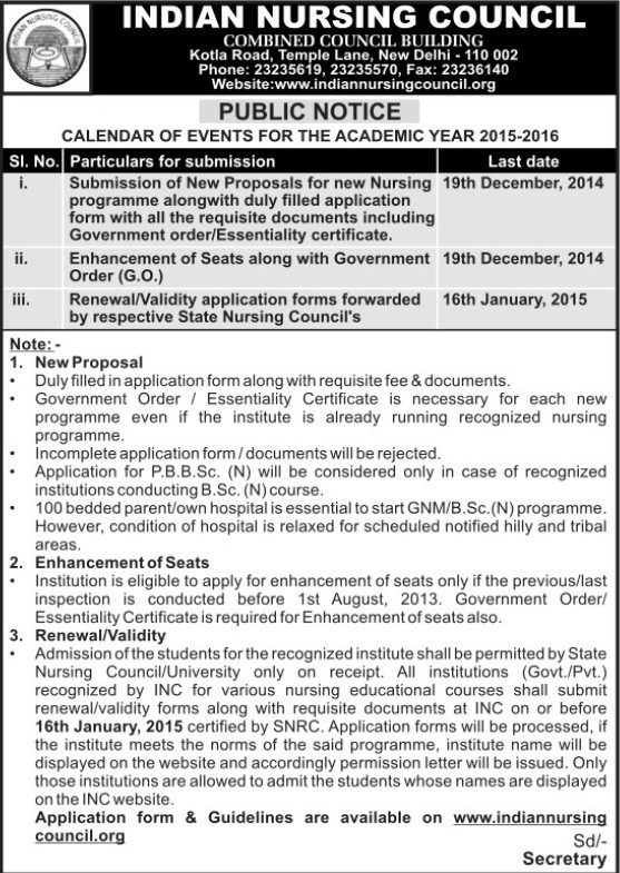 Proposals for new Nursing programme (Indian Nursing Council (INC))