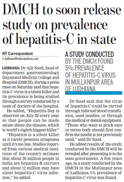 DMCH to soon release study on prevalence of hepatitis C (Dayanand Medical College and Hospital DMC)