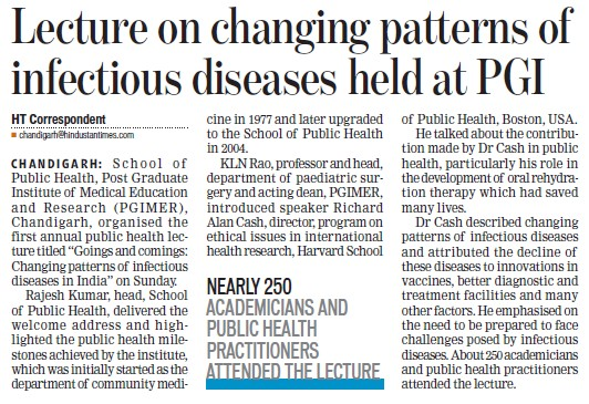 Lecture on changing pattern of infectious diseases (Post-Graduate Institute of Medical Education and Research (PGIMER))