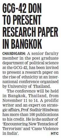 GCG Don to present research paper in Bangkok (PG Government College for Girls (GCG Sector 42))