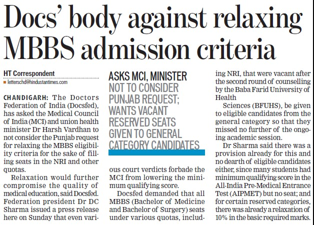 Docs body against relaxing MBBS admission criteria (Medical Council of India (MCI))