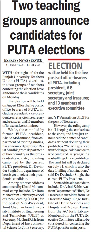 Two teaching groups announce candidates for PUTA elections (Panjab University Teachers Association (PUTA))
