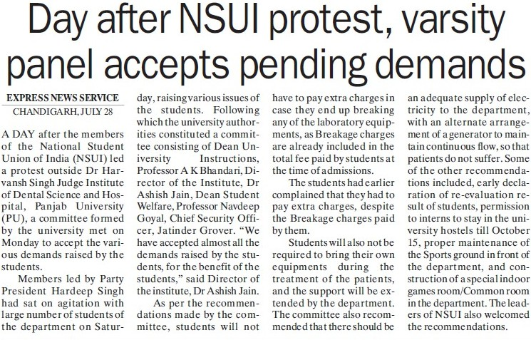 Varsity panel accepts pending demands (National Students Union of India NSUI Punjab)