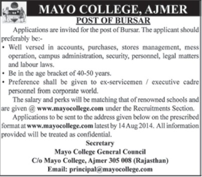 Bursar required for accounts and stores management (Mayo College)