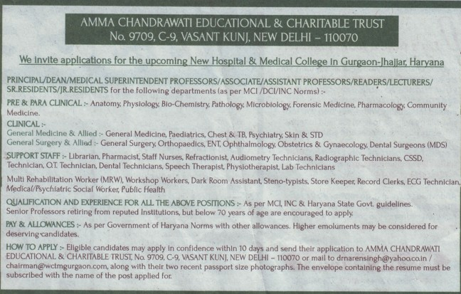 Medical Superintendent and Reader (World College of Medical Science and Research)