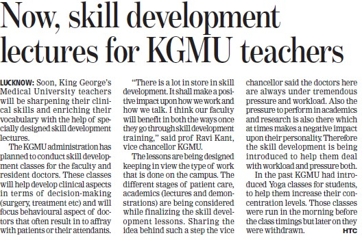Skill Development lectures held (KG Medical University Chowk)