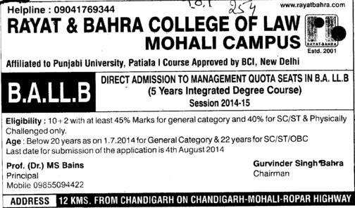BA LLB course (Rayat and Bahra College of Law)