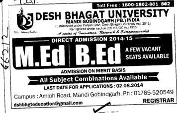B Ed course (Desh Bhagat University)