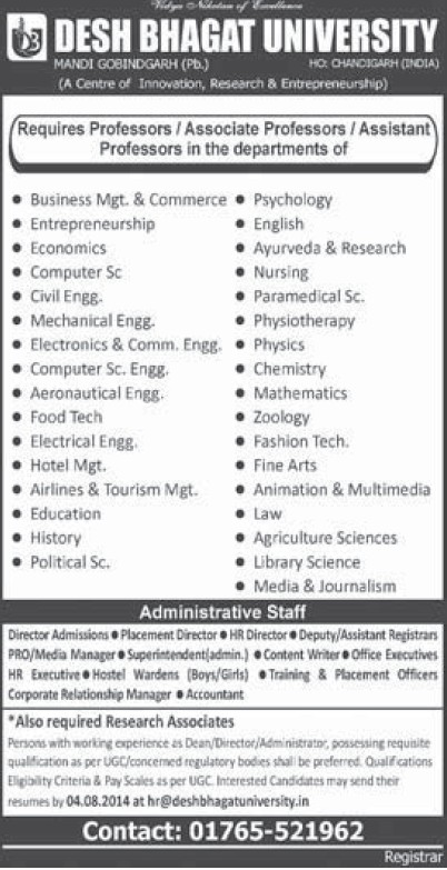 Associate Professor for ME and Fine Arts (Desh Bhagat University)