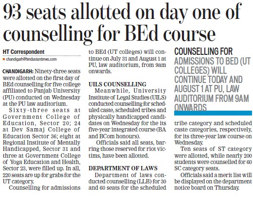 Seats alloted on day one of counselling for B Ed course (Government College of Education (Sector 20))
