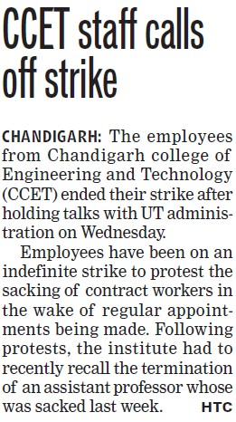 CCET staff calls off strike (Chandigarh College of Engineering and Technology (CCET))