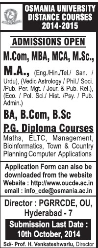 BA, BCom, MSc and MCom (Osmania University)