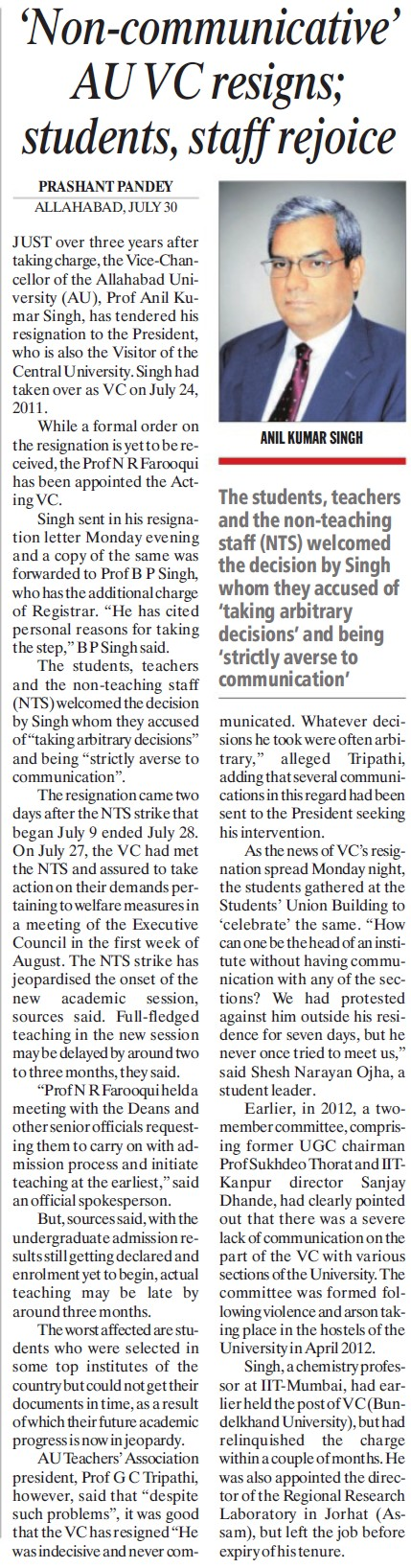 Non communicative AU VC resigns (University of Allahabad)