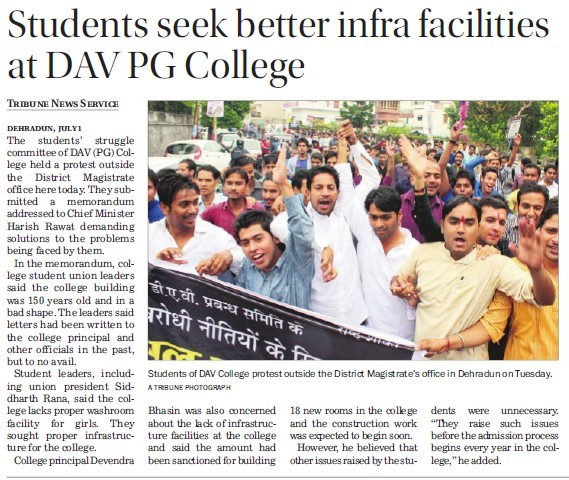 Students seek better infra facilities (DAV PG College Karanpur)