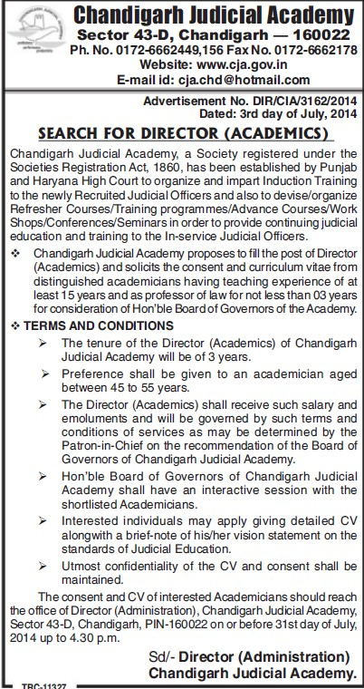 Director required (Chandigarh Judicial Academy)