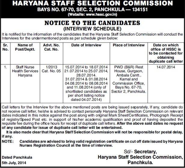 Staff Nurse (Haryana Staff Selection Commission (HSSC))