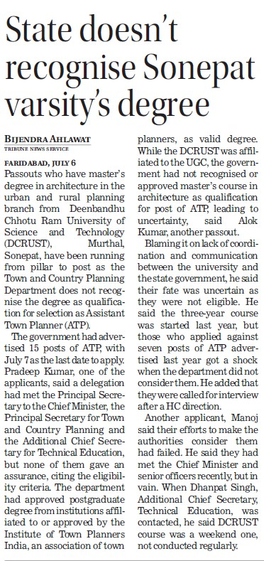 State doesnt recognise Sonepat varsity degree (Deenbandhu Chhotu Ram University of Science and Technology)