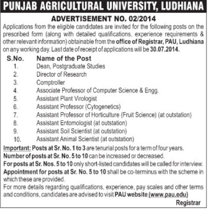 Asstt Animal Scientist (Punjab Agricultural University PAU)