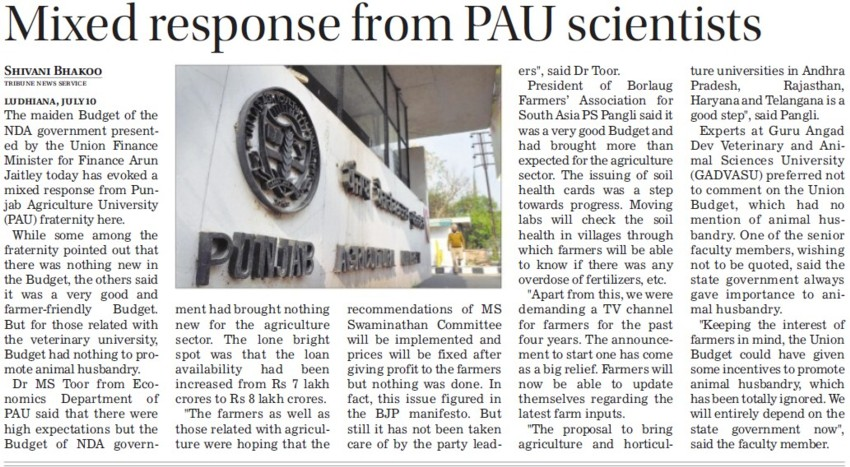 Mixed response from PAU scientist (Punjab Agricultural University PAU)