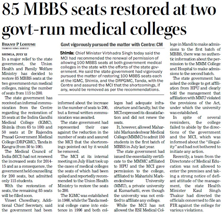 MBBS seats restored at two govt run medical colleges (Indira Gandhi Medical College (IGMC))