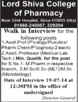 Medical Lab Technician (Lord Shiva College of Pharmacy)