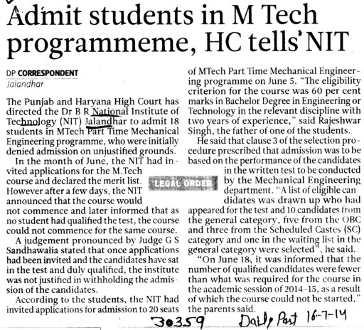 Admit students in M Tech Programme, HC tells NIT (Dr BR Ambedkar National Institute of Technology (NIT))