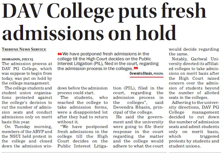 DAV College puts fresh admission on hold (DAV PG College Karanpur)