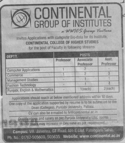 Asso Professor for fashion technology (Continental Group Institute Jalvehra)