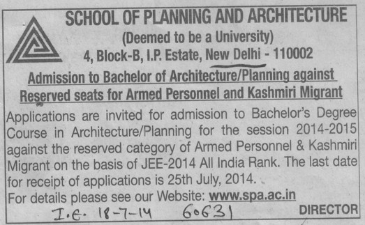 Bachelor of Architecture (MBS School of Planning and Architecture)