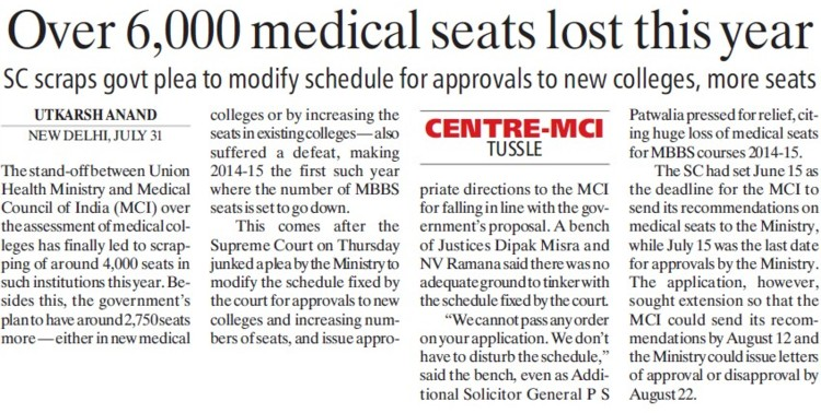 Over 6000 medical seats lost this year (Medical Council of India (MCI))