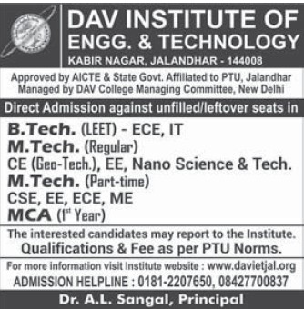 M Tech in Nano Science (DAV Institute of Engineering and Technology DAVIET)