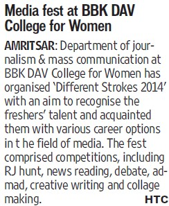 Media fest held (BBK DAV College for Women)