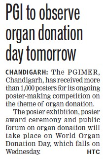PGI to observe organ donation day tomorrow (Post-Graduate Institute of Medical Education and Research (PGIMER))