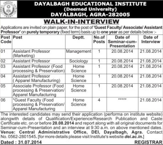 Associate Professor for Food processing (Dayalbagh Educational Institute Deemed University)