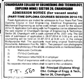 Diploma course in Civil Engineering (Chandigarh College of Engineering and Technology (CCET))