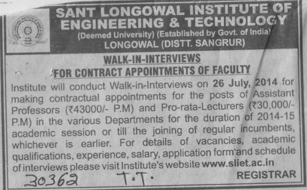 Pro rata lecturers (Sant Longowal Institute of Engineering and Technology SLIET)