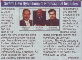 Message of President ML Jindal (Swami Devi Dyal Group of Professional Institutes)