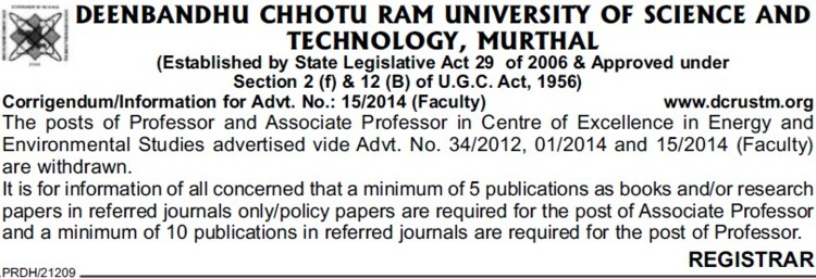 Asso Professor for Environmental studies (Deenbandhu Chhotu Ram University of Science and Technology)