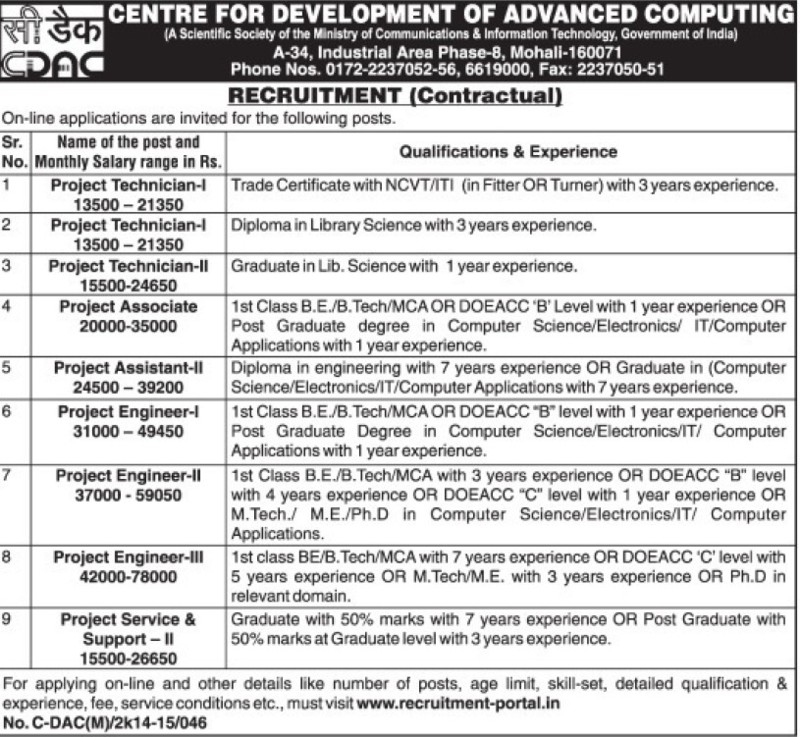 Project Asstt and Project Technician (Centre for Development of Advanced Computing)