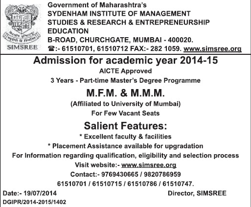 MFM and MMM programme (Sydenham Institute Of Management Studies And Research Enterprenureship Education (SIMSREE))