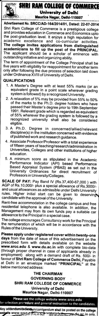 Experienced Principal required (Shri Ram College of Commerce)