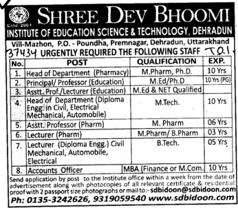 Head of Department and Asstt Professor (Shree Dev Bhoomi Institute of Education Science and Technology)