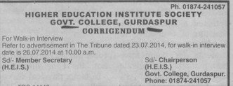 Walk in Interview (Government College)