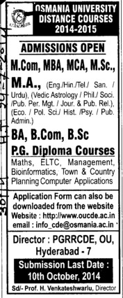 MCom, MBA and MCA (Osmania University)