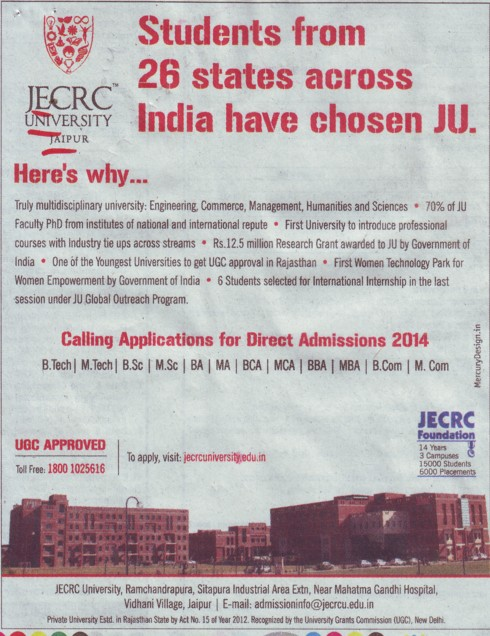 B Tech, MBA and BBA (JECRC University)