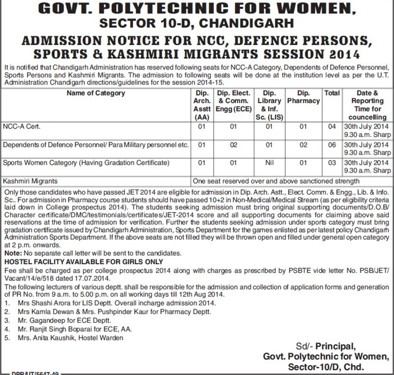 Diploma in ECE (Government Polytechnic for Women (Sector 10))