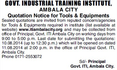 Supply of tools and equipments (Industrial Training Institute (ITI))